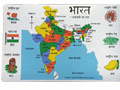 Map of India Placemat SET - Hindi